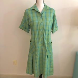 Vintage | Green Blue Plaid House Dress Kick Pleats